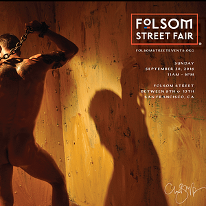 Folsom Street Fair promotional image feature a naked ma from the rear holding a heavy chain over his shoulder with his shadow showing against pale ochre coloured walls