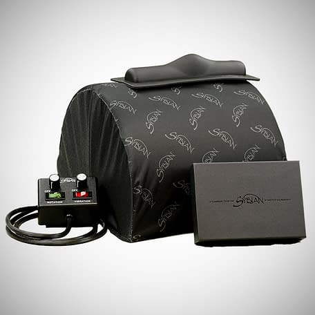 Custom Sybian cover on the legendary Sybian ride on sex machine. Cover is black with the Sybian logo in silver grey repeated over it.