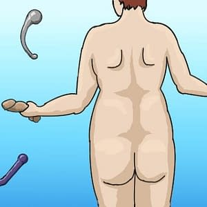 Illustration for Indigo Wolfe Blog with a drawing of a naked woman from the red with a dildo in one hand against a blue background