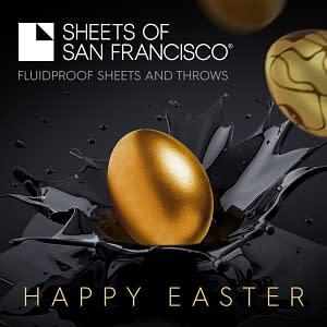 Golden Egg Nestling in Black Splash on Black Background with White Sheets of San Francisco Logo and Happy Easter Message