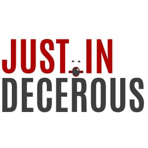 Justin Decorous Logo Red and Black type on white background